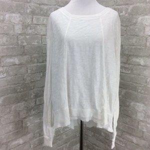 Wilt Top Medium White Texture Slub Mixed Rib Knit